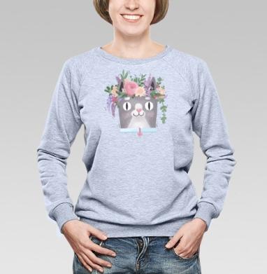 Весенний Кот Перкинс, Cвитшот женский, толстовка без капюшона  серый меланж
