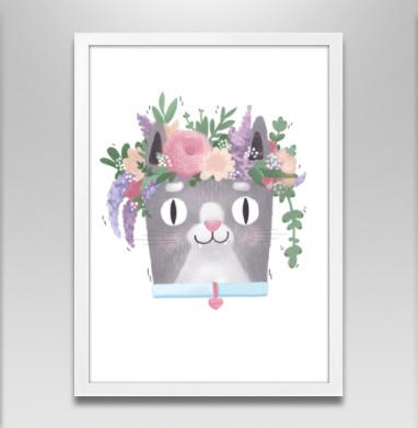 Весенний Кот Перкинс - Постер в белой раме, текстура