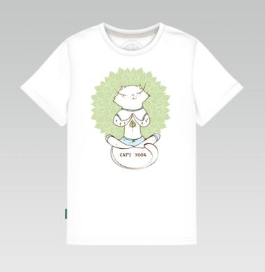 Детская футболка белая 160гр - Йога котэ