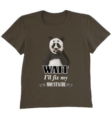 Футболка мужская коричневая - Усатая панда