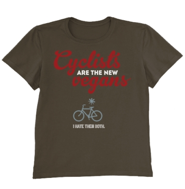 Футболка мужская коричневая - Велосипедисты - новые веганы