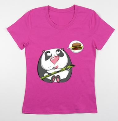 Футболка женская фуксия - Панда хочет мяска