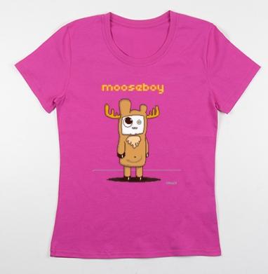 Футболка женская фуксия - mooseboy