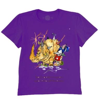 Футболка мужская темно-фиолетовая - Анфиса и носорог