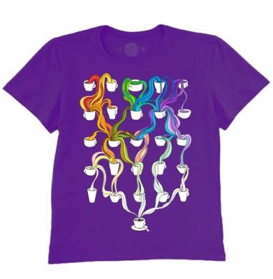 Футболка мужская темно-фиолетовая - Colourful coffee