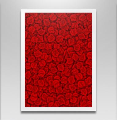 Красные розы - Постер в белой раме, паттерн