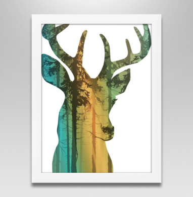Лес в олене, Постер в белой раме
