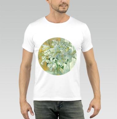 Футболка мужская белая 180гр - Белые лилии