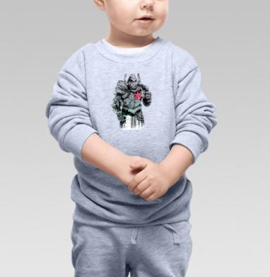 Стимпанк рыцарь с орхидеей - Cвитшот Детский серый меланж, Новинки