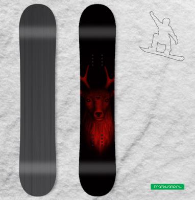 Трезглазый акварельный олень с лиственными рогами - Наклейки на доски - сноуборд, скейтборд, лыжи, кайтсерфинг, вэйк, серф