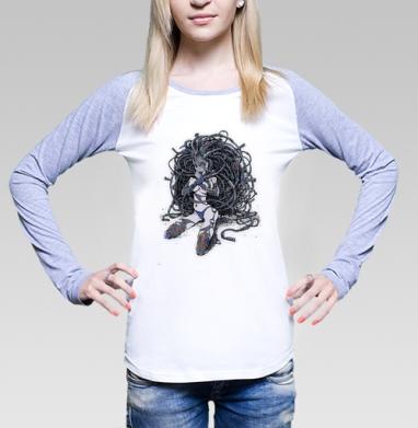 Кибер-девушка с дредами - Футболки с длинным рукавом женские