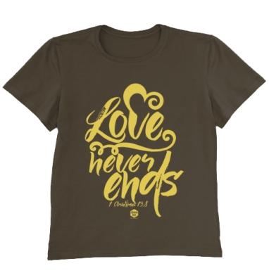Футболка мужская коричневая - Любовь не перестает