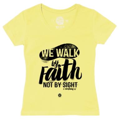 Футболка женская желтая - Мы ходим верою
