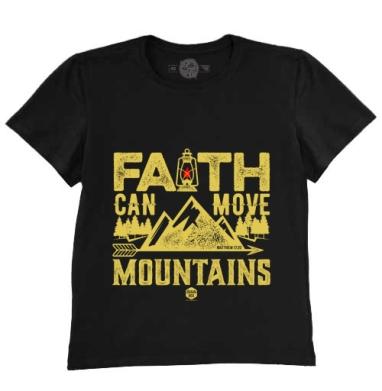 Футболка мужская чёрная 200гр - Вера может двигать горы