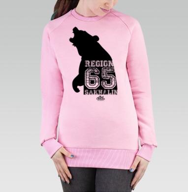 Cвитшот женский розовый  320гр, стандарт - Сахалин. Регион шестьдесят пять.