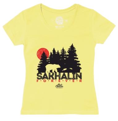 Футболка женская желтая - Сахалин навсегда