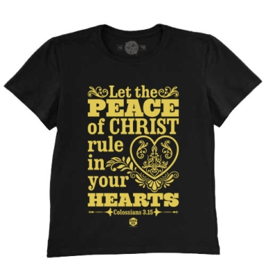 Футболка мужская чёрная 200гр - Мир Христа в сердце