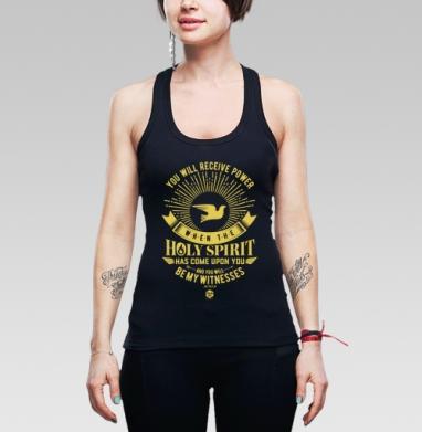 """Вы получите силу Святого Духа - Борцовка женская чёрная рибана 200гр, Официальный магазин проекта """"B I B L E B O X"""""""