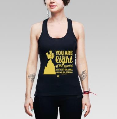 """Вы свет миру - Борцовка женская чёрная рибана 200гр, Официальный магазин проекта """"B I B L E B O X"""""""