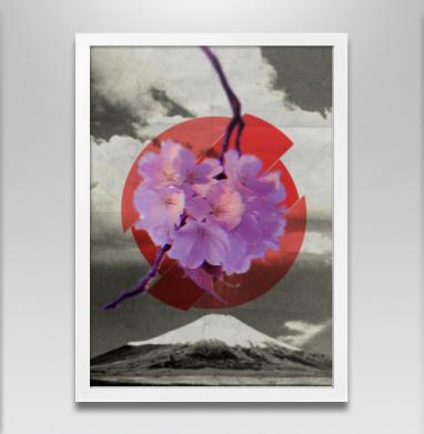 Японская весна - Постер в белой раме, горы