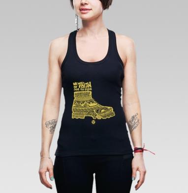 """Мы ходим верой - Борцовка женская чёрная рибана 200гр, Официальный магазин проекта """"B I B L E B O X"""""""
