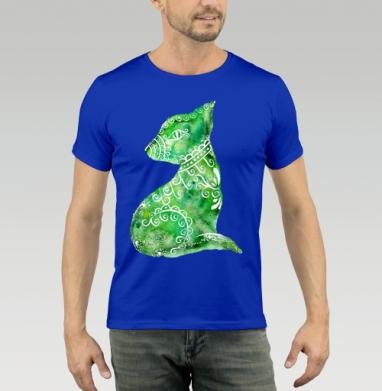 Футболка мужская синяя - Акварельная кошка