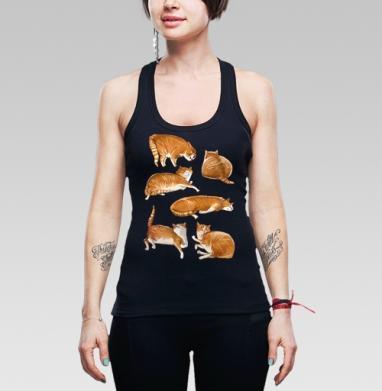 Паттерн с рыжими котами - Купить мужские Майки-борцовки с пандой в Москве, цена мужских маек борцовок с пандами  с прикольными принтами - магазин дизайнерской одежды MaryJane