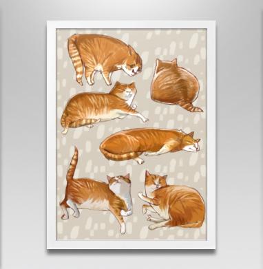 Паттерн с рыжими котами - Постер в белой раме, текстура
