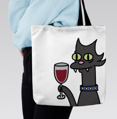 Сумка с полной запечаткой - Кошка и вино. симпсоны