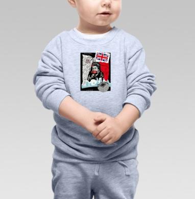 Cвитшот Детский серый меланж, свитшот серый меланж - Популярные принты за 12 лет