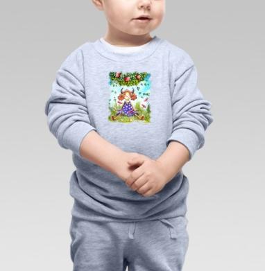 Телец. Знак зодиака - Cвитшот Детский серый меланж, Новинки