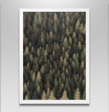 Лесной камуфляж - Постер в белой раме, военные