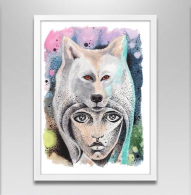 Волкчикса - Постер в белой раме, волк