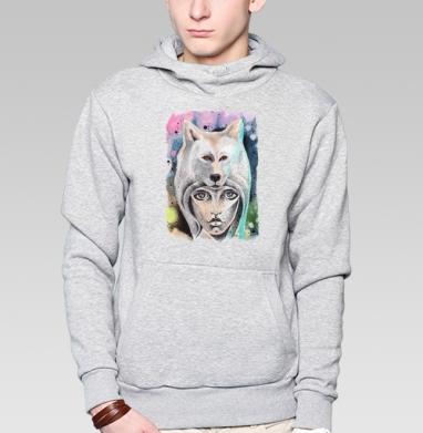 Волкчикса - Толстовка серая с капюшоном, цвет