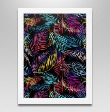 Разноцветные листья пальмы, Постер в белой раме