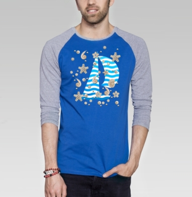 Волны и ракушки - Футболка мужская с длинным рукавом синий / серый меланж, лето, Популярные