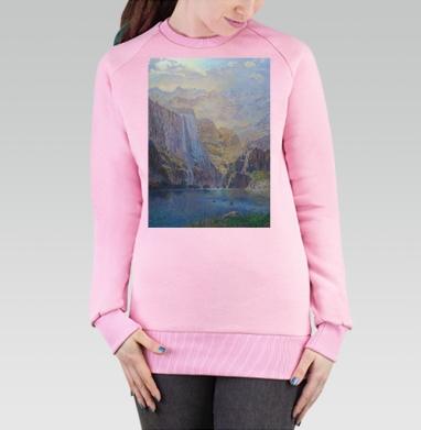 Cвитшот женский, толстовка без капюшона розовый, светло-розовый - Интернет магазин футболок №1 в Москве