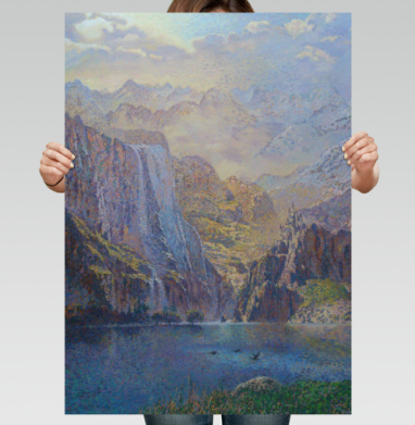Замок в горах - Постер вертикальный, живопись