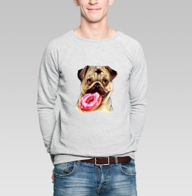 Мопс и пончик - Купить мужские свитшоты с собаками в Москве, цена мужских свитшотов с собаками  с прикольными принтами - магазин дизайнерской одежды MaryJane