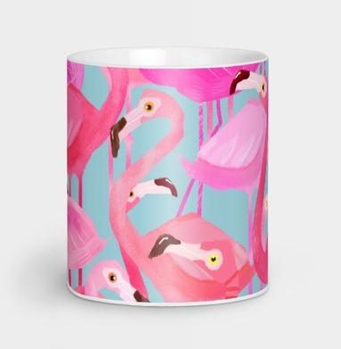 Фламинго Серый фон - Парные кружки