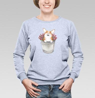 Корги и розы - Купить женские свитшоты с роами в Москве, цена женских свитшотов с розой с прикольными принтами - магазин дизайнерской одежды MaryJane