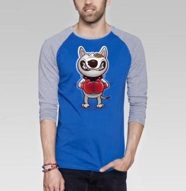 Сердитый буль - Футболка мужская с длинным рукавом синий / серый меланж, собаки, Популярные