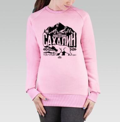Cвитшот женский розовый  320гр, стандарт - Сахалин. Символы.