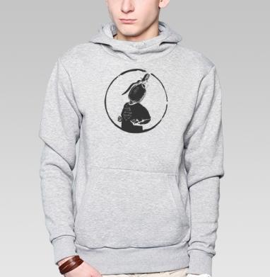ЦДА, Толстовка мужская, накладной карман серый меланж