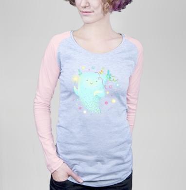 Дух праздника - Футболка женская с длинным рукавом серый меланж/розовая