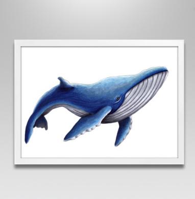 Синий кит - Постер в белой раме