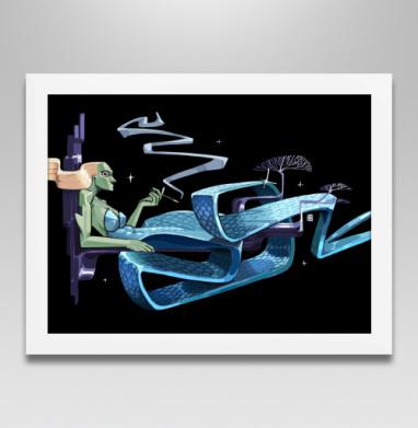 Русалка на ветвях - Постер в белой раме