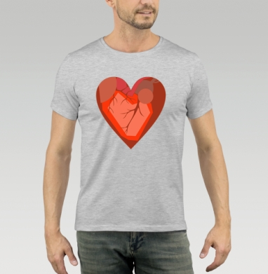 Футболка мужская серый меланж 200гр - Кубическое Сердце