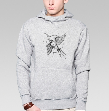 Ласточка в стиле тату, Толстовка мужская, накладной карман серый меланж