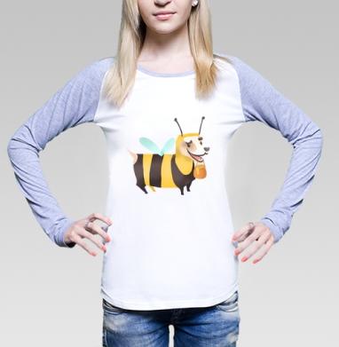 Пчелопёс, Футболка лонгслив женская бело-серая